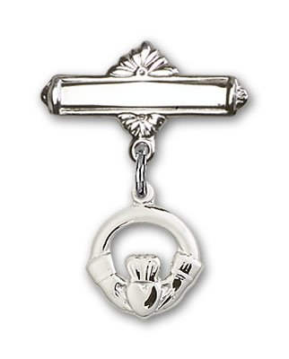 Sterling Silver Baby Badge with Claddagh Charm and Polished Badge Pin