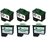 Remanufactured 6 pack Lexmark 16 black x 3, Lexmark 26 colour x 3, Compatible replacement ink cartridges filled to high capacity.