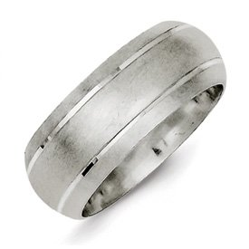 Genuine IceCarats Designer Jewelry Gift Sterling Silver 8Mm Satin Finish Band Size 8.00