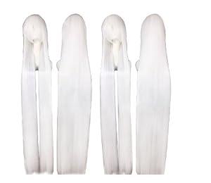 Cosplay peluca blanca 150cm 516 traje recto pelo