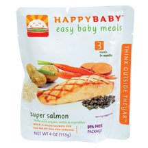 HAPPYBABY Organic Baby Food, Stage 3, Super Salmon, 4 Ounce Pouch ( Value Bulk Multi-pack)
