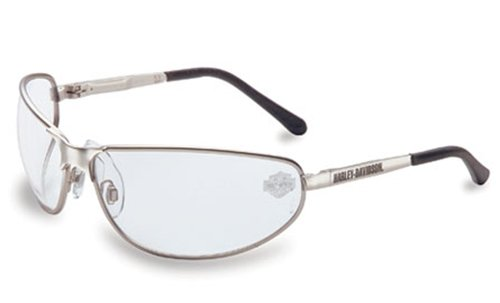 harley davidson hd501 safety glasses with silver matte frame and clear tint hardcoat lens