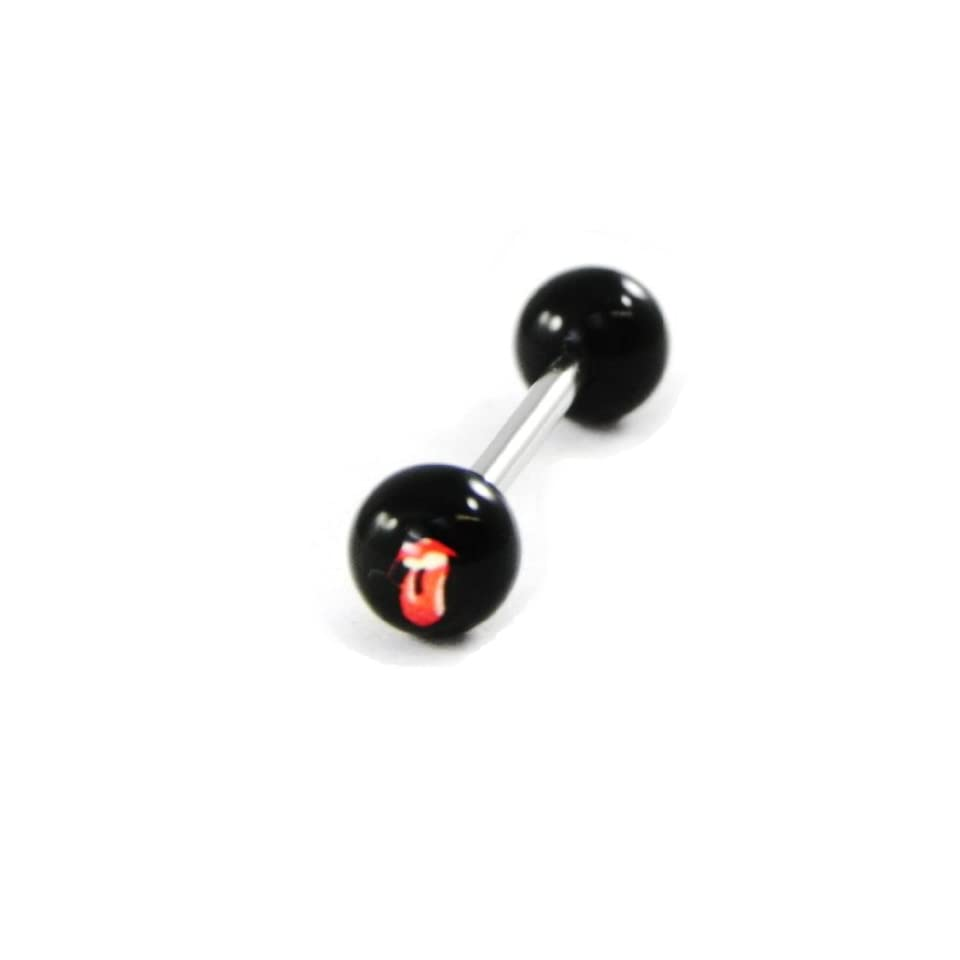 Tongue piercing Rolling Stones black red. Jewelry