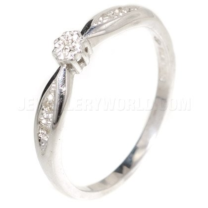 Diamond 9ct White Gold Engagement Ring with Curved Lozenge Shoulders