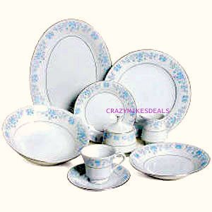 Lynn's Helen 50 PC Fine China Dinnerware Set (Place Settings for 6 and completer sets)