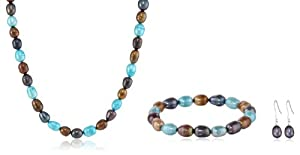 Brown and Blue Freshwater Cultured Pearl Necklace, Bracelet and Earrings Set