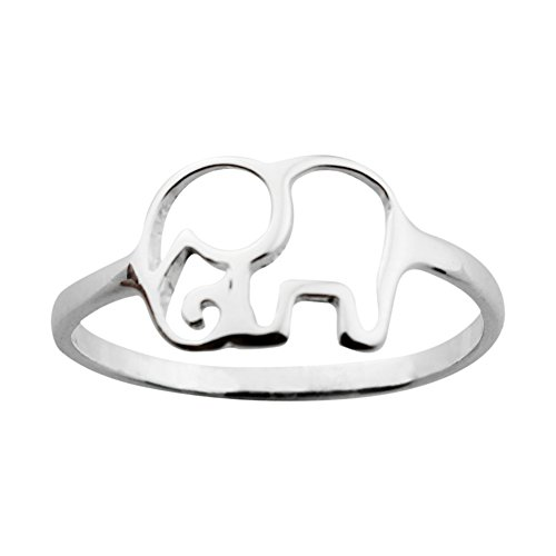 ELBLUVF 925 Sterling Silver Elephant Animal Lucky Ring Jewelry Bridesmaid Gift Favor (8) (Elephant Rings For Women compare prices)