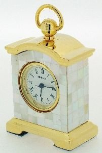 Miniature Premium Range Gold Plated & Mother of Pearl Carriage Clock in a Gift Box that can be Personalised FREE ENGRAVING