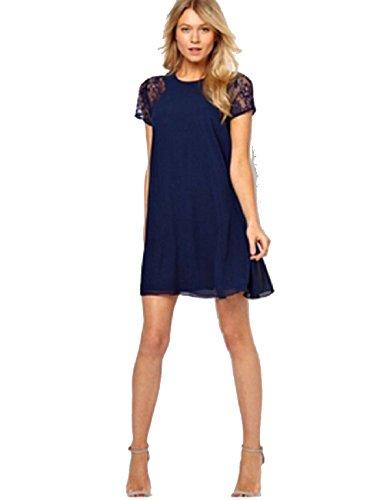Women Summer Lace Short Sleeve Chiffon Underskirt Sexy Dress Navy Blue M
