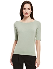 Autograph Modal Rich Slash Neck Plain Top