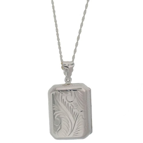 Silver Large Rectangle Engraved Locket Pendant + Rope Chain 56cm