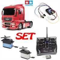 Tamiya-114-RC-Truck-LKW-MAN-TGX-18540-rot-Komplett-Set-mit-Fernsteuerung-Servos-Regler