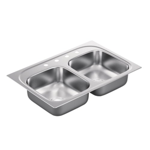 Lowest Price! Moen G222174 2200 Series 22-Gauge Double Bowl Drop In Sink, Stainless Steel