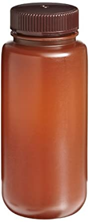 Nalgene Translucent Amber HDPE Wide-Mouth Caseaging Bottles, 500mL Capacity (Case of 125)
