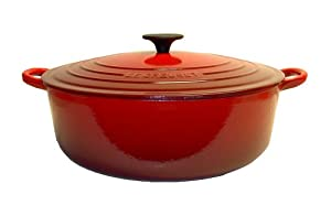 Le Creuset Enameled Cast-Iron 6-3/4-Quart Wide French Oven, Cherry Red