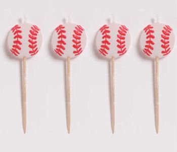 All-Star Baseball Birthday Candles 4ct