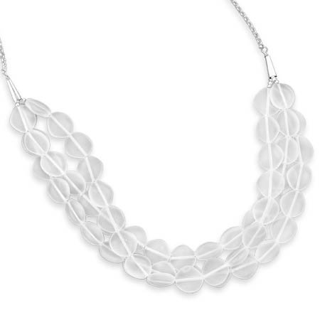 17 Inch + 2 Inch Triple Strand Crystal Necklace