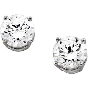 14K White 6mm Cubic Zirconia Earrings