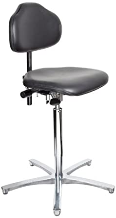 "Milagon Stera WS1711 Workseat on Polished Star Base Clean Room Chair with Conductive Glides, ESD High Profile, 24""-34"" Adjustment Height"