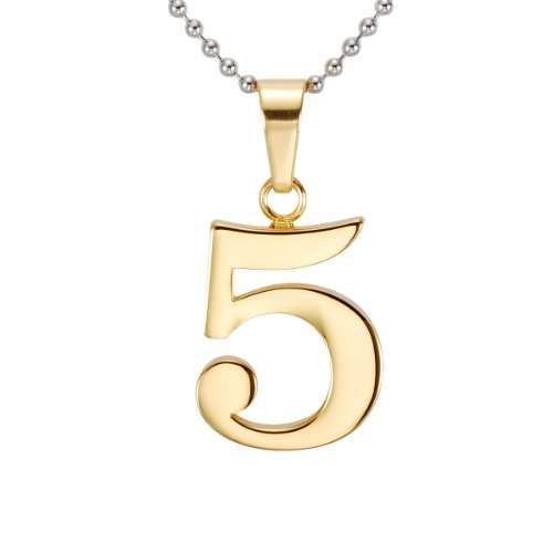 316l Stainless Steel Number 1-9 Character Gold Pendant Necklace Jewellery Never Rusty Promise (Number 5) (Gold Number Necklace Pendant compare prices)