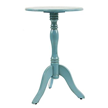 Décor Therapy FR1566 Simplify Pedestal Accent Table, Turquoise Blue