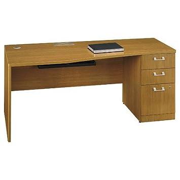 Quantum Single Pedestal Desk Finish: Modern Cherry, Orientation: Right