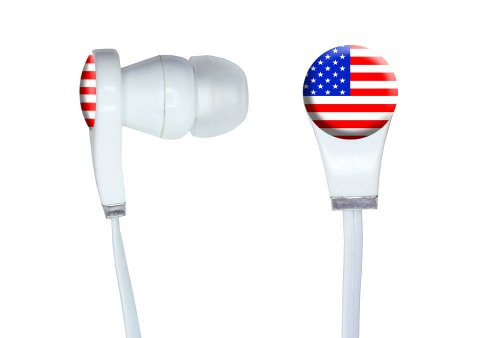 Graphics And More American Usa Flag - Patriotic Novelty In-Ear Headphones Earbuds - Non-Retail Packaging - White