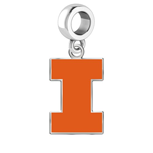 Illinois Fighting Illini Sterling Silver Logo Drop Charm Fits All European Style Charm Bracelets