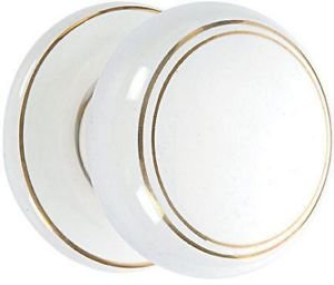 Ceramic Mortice Door Knob Set - White/Gold Line - by New A-Brend