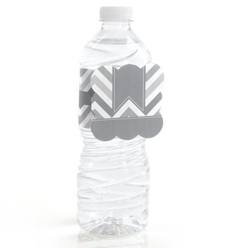 Chevron Gray - Party Water Bottle Labels (Set Of 12)
