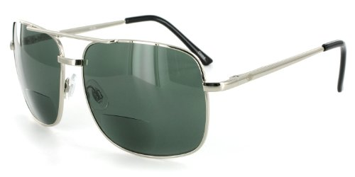 Ace Bifocal Sunglasses with Large Aviator Design for Youthful, Stylish Men and Women (Chrome w/ Green Lens +2.00)