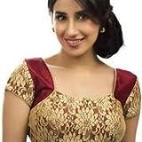 RAMAPIR FASHION Womens Stitched Blouse Maroon Golden Designer Net Blouse Material