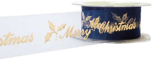 May Arts 1-1/2-Inch Wide Ribbon, Sheer Navy Holiday Print