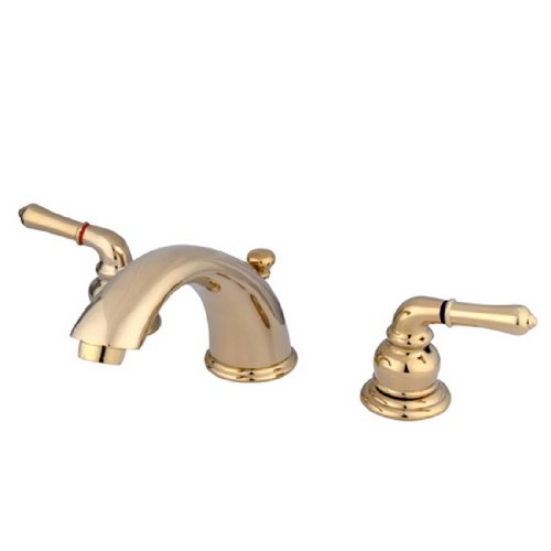 Kingston Brass KB962 Magellan II Widespread Lavatory Faucet 8-Inch to 16-Inch Centers 7-Inch Spout Reach, Polished Brass