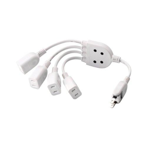 ELECOM 電源ケーブル ACアダプタを4個つなげる 0.2m ホワイト T-ADR4WH