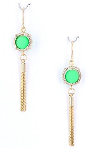 "2.5"" Rubber Coated Ball Center Brass Dangle Chain Earrings, Neon Green"
