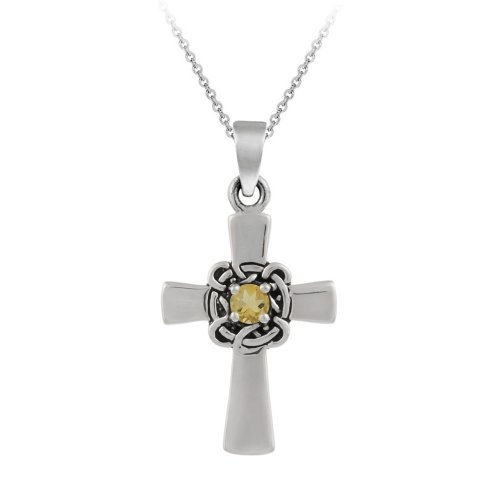 Sterling Silver Celtic Cross with Citrine Center Pendant Necklace, 18