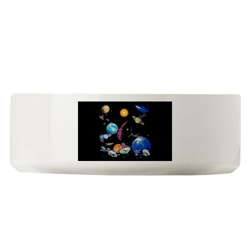 Large Dog Cat Food Water Bowl Solar System And Asteroids