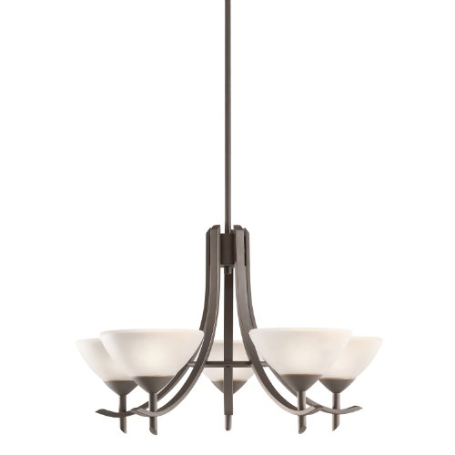 B008F9Y7DE Kichler Lighting 1679OZW Olympia 5-Light Chandelier, Olde Bronze Finish with Satin Etched White Glass