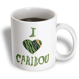 3Drose Mug_121920_1 Camo Colored Striped I Love Caribou Ceramic Mug, 11-Ounce
