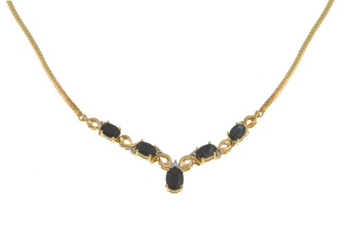 9ct Yellow Gold Diamond and Sapphire Ladies' Necklace, Length 47 cm