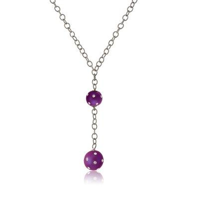 Fad & Fab Sterling 925 Silver Link Chain Necklace with Hanging Purple Enamel Two-Ball Set Pendant(WoW !With Purchase Over $50 Receive A Marcrame Bracelet Free)