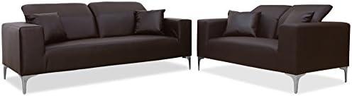 Menzzo YZ128 Contemporain Tango Canapé 3 + 2 Places Têtières Rabattables Métal Marron 197 x 92 x 90 cm