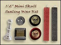"""Wax Seal Stamp KIT - Grinning Skull 1/2"""" Mini Stamp KIT"""