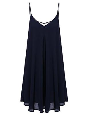 ROMWE Women's Summer Spaghetti Strap Sundress Sleeveless Beach Slip Dress