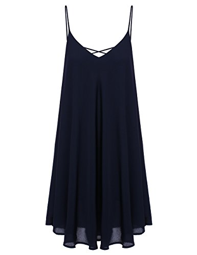 ROMWE Women's Summer Spaghetti Strap Sundress Sleeveless Beach Slip Dress Navy X-Large