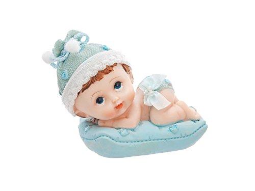 deconzept tortenfigur baby auf dem kissen tortendeko windeltortendeko taufe babyblau junge. Black Bedroom Furniture Sets. Home Design Ideas