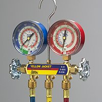 "Yellow Jacket 42006 Series 41 Manifolds with 3-1/8"" Gauges With 60"" PLUS II standard fittings, psi, R-22/134a/404A (clamshell)"