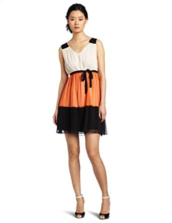 Romeo & Juliet Couture Women's Colorblock Dress, Orange Combo, Medium
