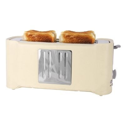 4 Slice Toaster in Cream and Chrome by Lloytron